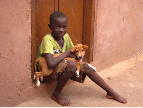 One of the very few times in Ghana I've seen someone holding and petting their dog, as is common in the United States.