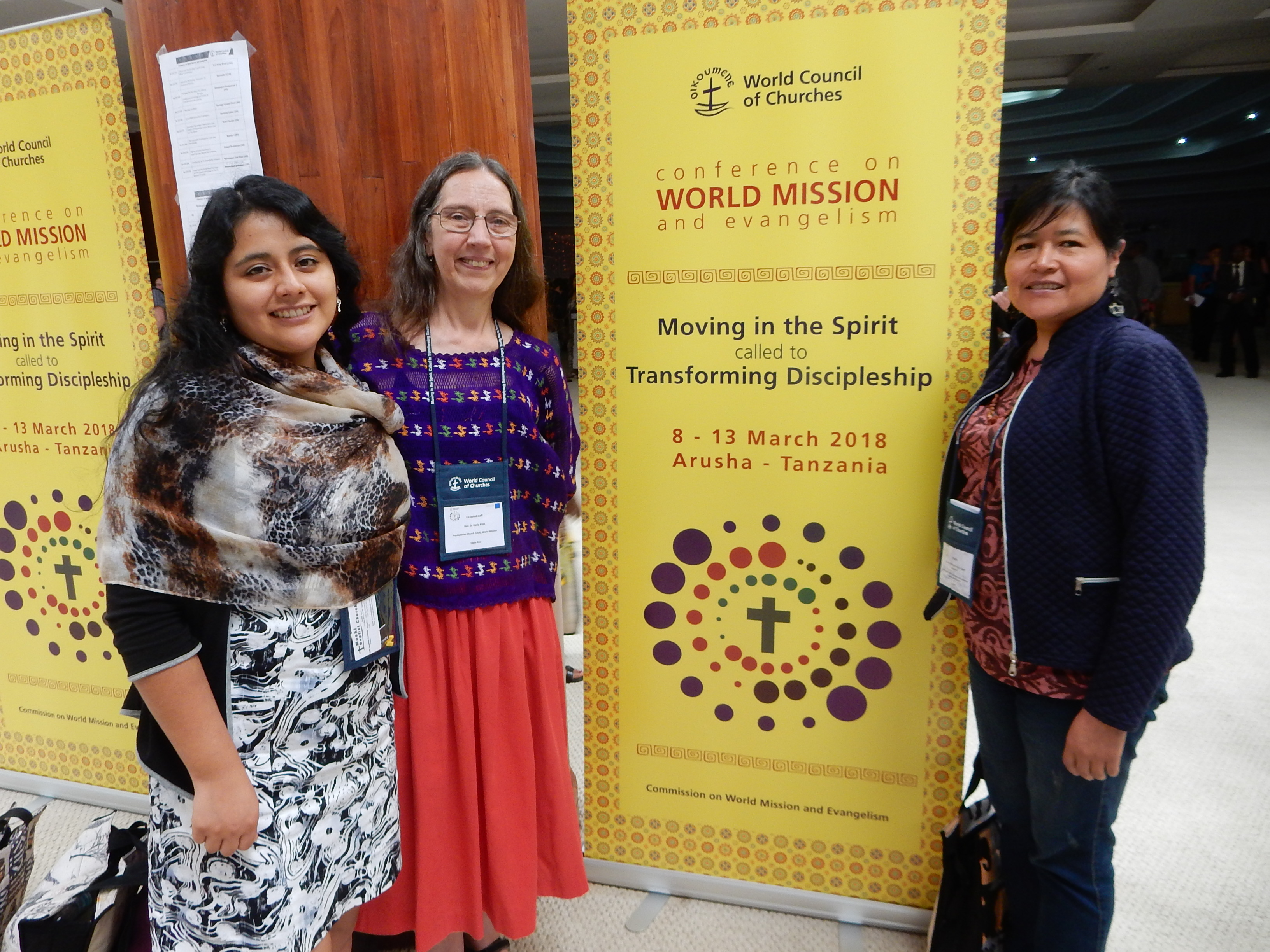 Nataly Romero (left) with Karla (center) and Margarita de la Torre (right), a UBL graduate who serves on the Commission for World Mission and Evangelism.