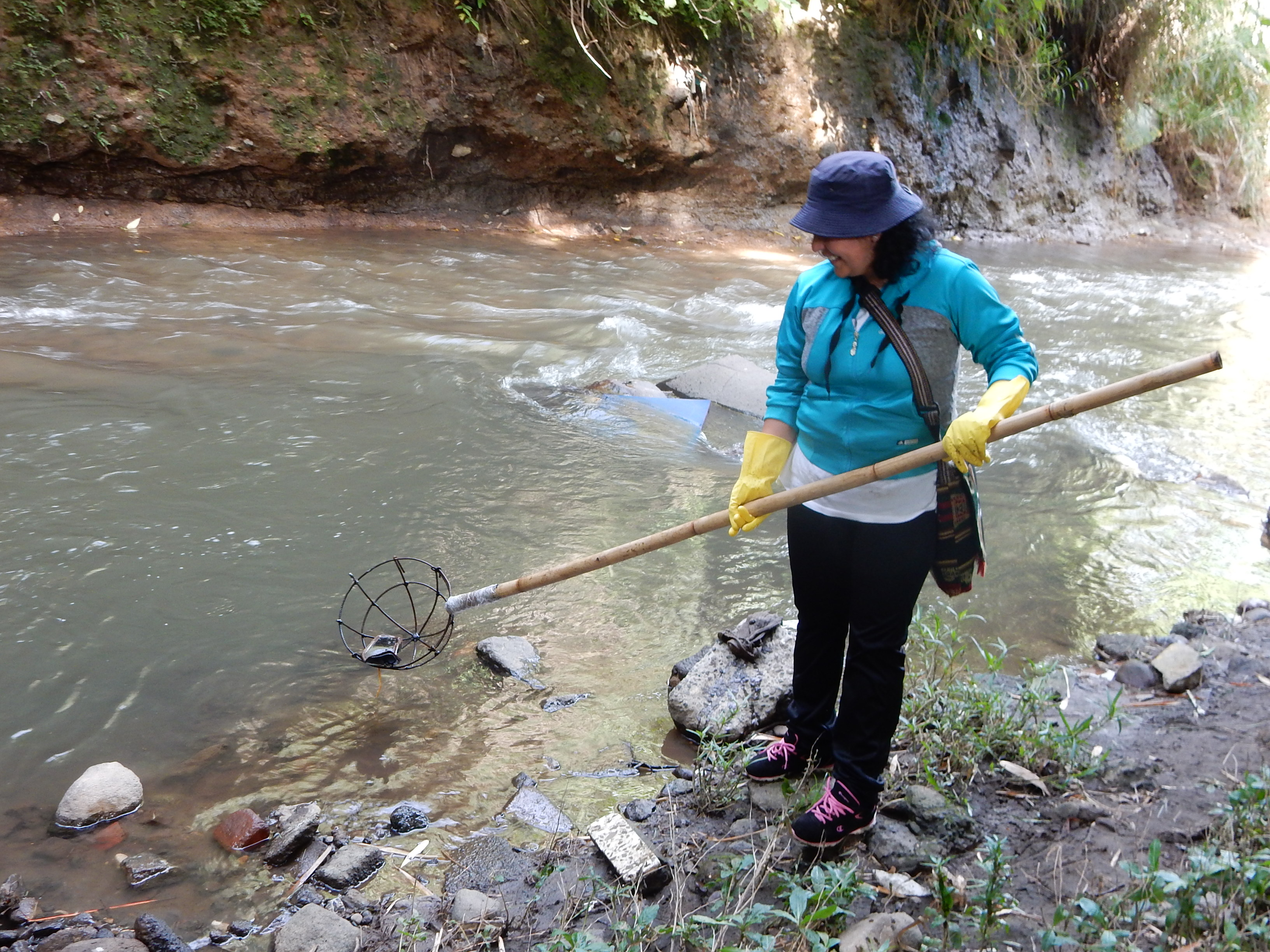 UBL student Sarvia Gomez fishing for trash in the Torres River