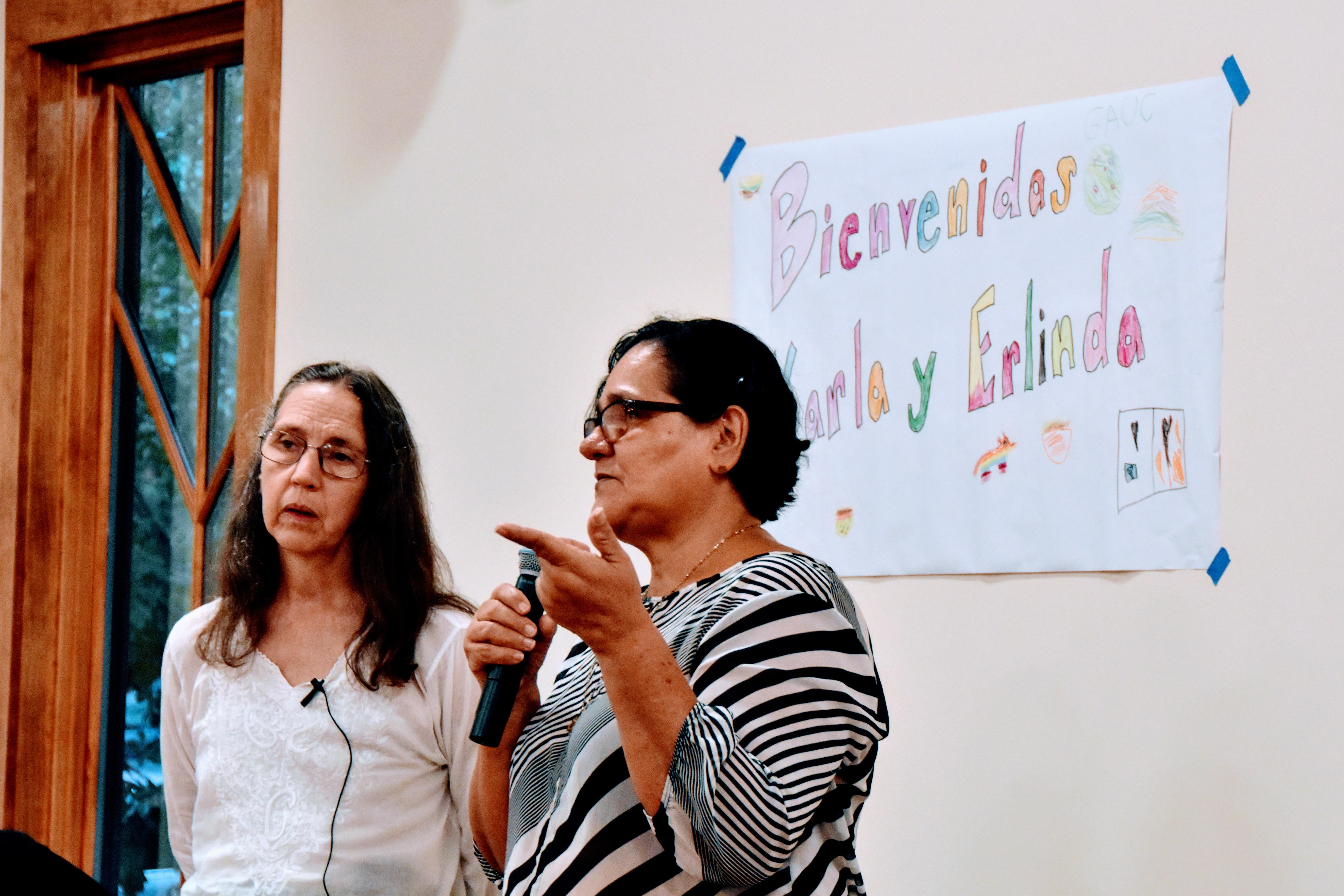 Erlinda speaking and Karla interpreting at Chapel in the Pines, Chapel Hill, North Carolina.