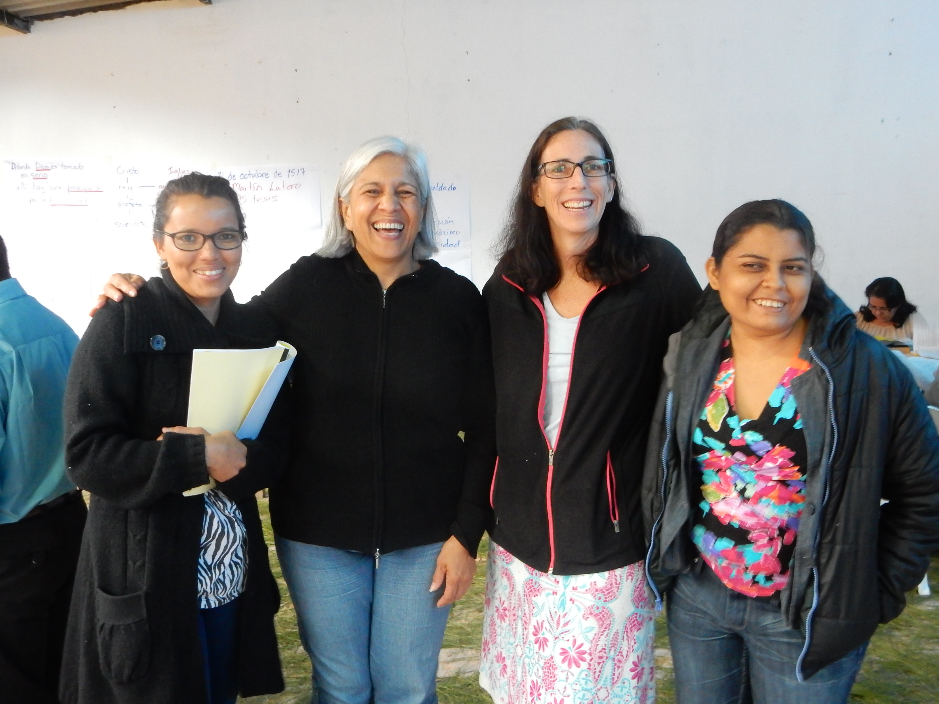 Left to right, Betzabé Reyes, Nidia Fonseca from the UBL, Presbyterian World Mission regional liaison Tracey King-Ortega, and Blanca Aida Rivas