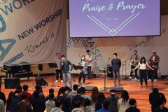 John Park leads a KCPC:LiVE worship service at the Korean Community Presbyterian Church of Atlanta. Park leads a ministry for about 120 junior-high students. (Courtesy of Hongjae Yoo)