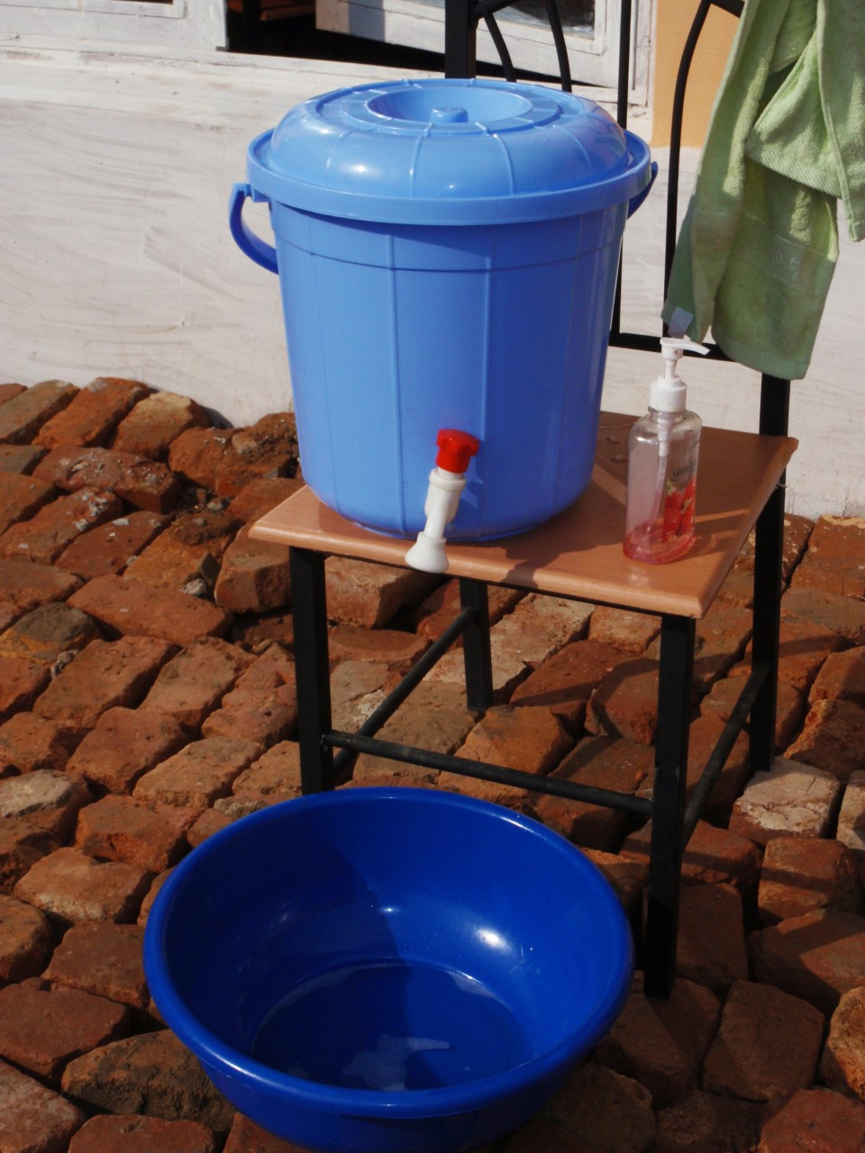 A typical hand-washing station