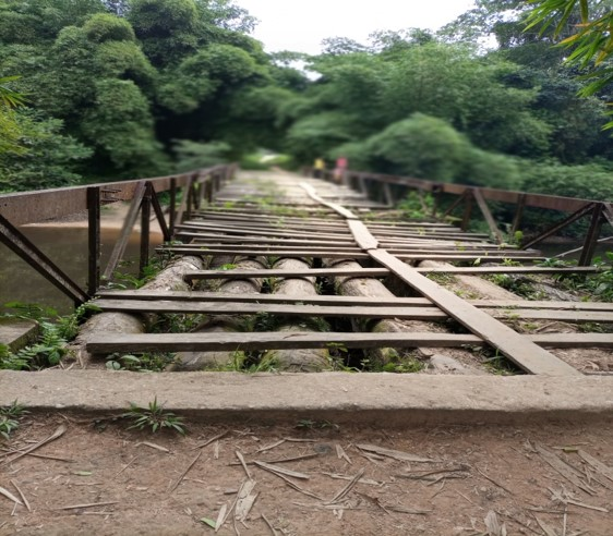 A bridge on the way to Ferenkeni made of tree logs with a narrow plank to drive a motorbike or ride a bicycle across.