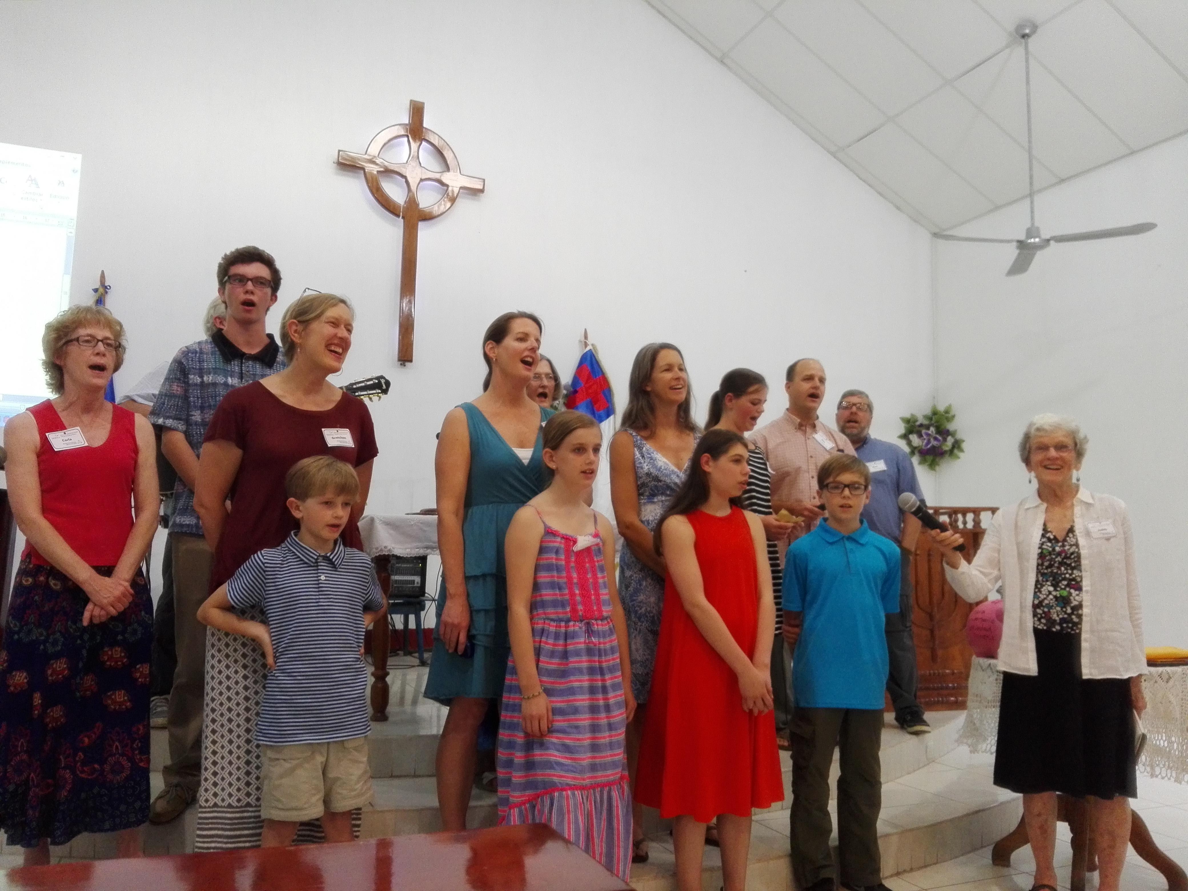Families from Brevard-Davidson Presbyterian Church sing for their partner congregation, Mt. Horeb Presbyterian Church in Tecún Umán, San Marcos, Guatemala.