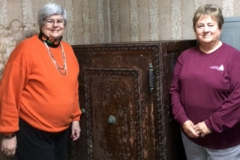 Jill Wiest (left) and Pam Newhouse (right) with the safe at Madison Presbyterian Church. (Photo provided)