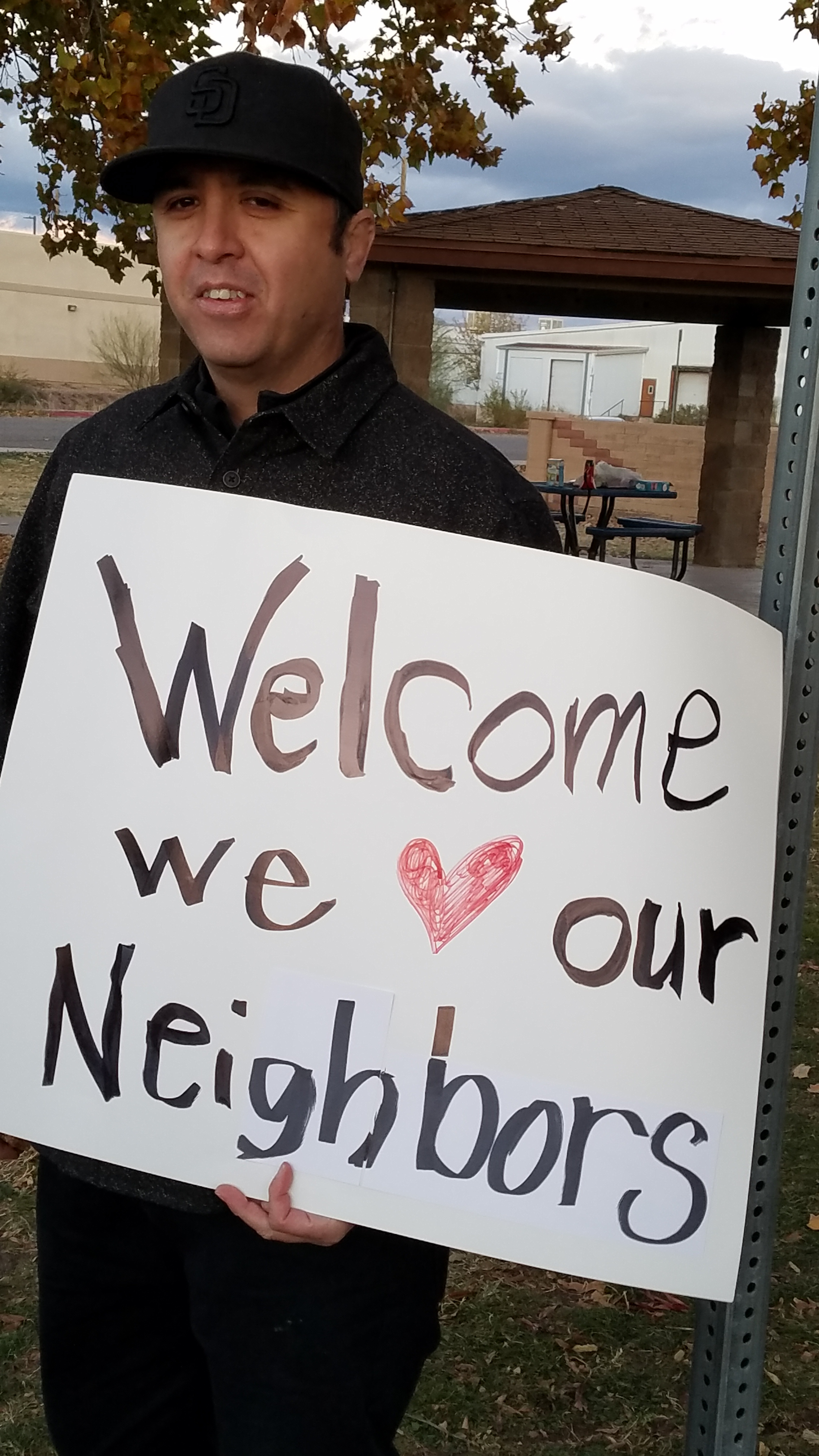 """A """"welcome party"""" just north of the border organized by James Martin, former PC(USA) Young Adult Volunteer and current teacher in Douglas. This welcome serves as a counternarrative to the military being sent to the border."""
