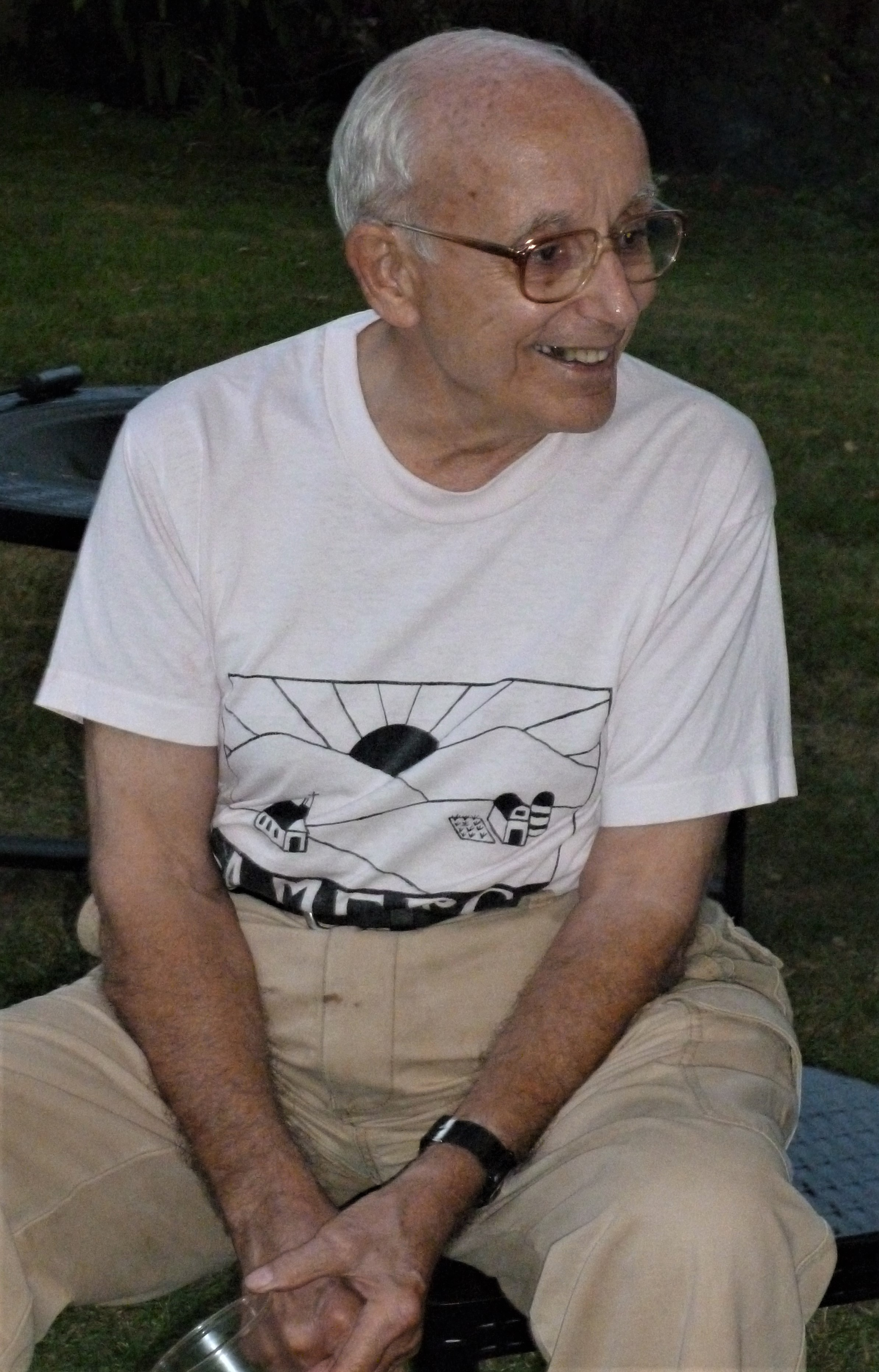 Dad at a neighborhood gathering in Amesville soon after Annika was born in 2011.