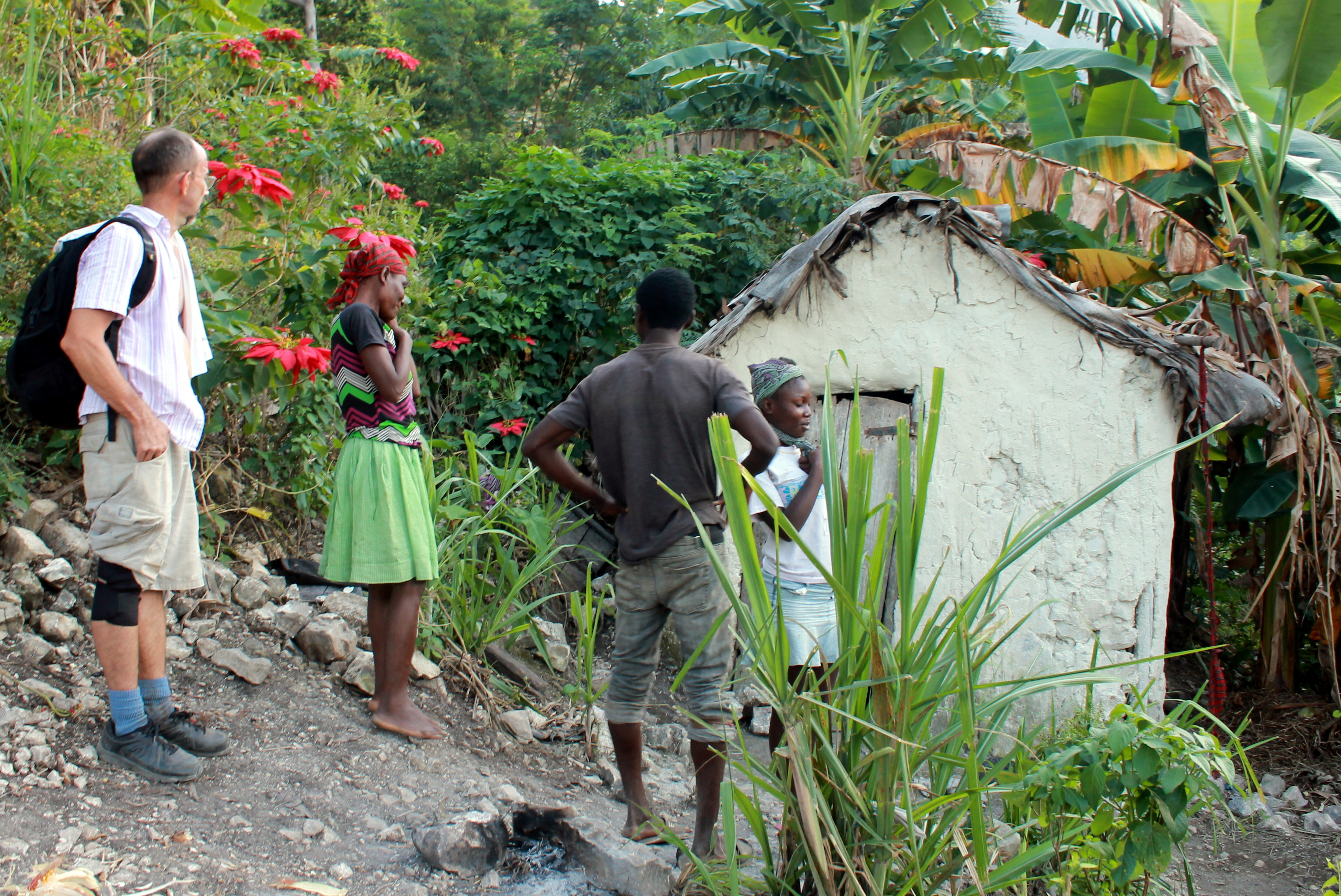 Hurricane damage in Haiti. This family in the mountains of Verettes lost half their home in the torrential downpour from the hurricane.