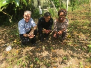John McCall and the Ambassdor from St. Kitts and Nevis with Pastor Sai in his Passion Fruit Orchard