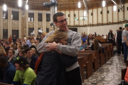 Patrick Hansard, a student at Mississippi State, and Calista Malone, a student at Queens University of Charlotte, share a hug at the 2017 College Conference at Montreat