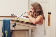 Meghan giving the Minute for Mission about Cardboard Box City to Monmouth Presbytery on Sept. 27, 2016. (Photo provided by Rev. Bill Morris)