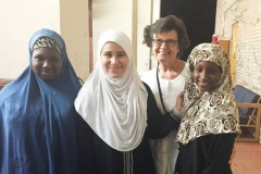Melanie Rodenbough and young women at the Islamic Center mosque in Greensboro, North Carolina. Rodenbough, who chairs a justice and peacemaking ministry at Guilford Park Presbyterian Church, has been working on building relationships and friendships with Muslims. (Photo courtesy of Melanie Rodenbough)