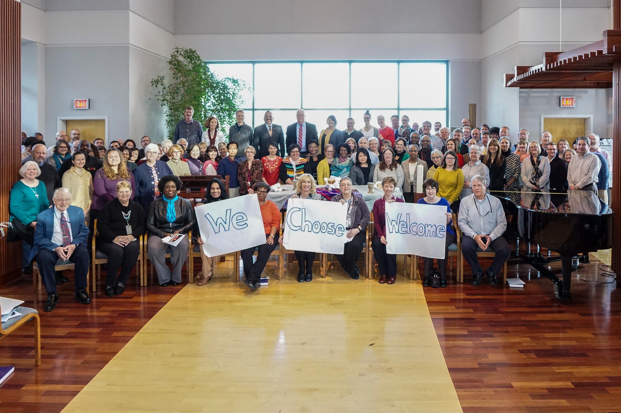 "Staff members of the Presbyterian Church (U.S.A.) declare, ""We Choose Welcome."" Photo Credit:  Gregg Brekke"