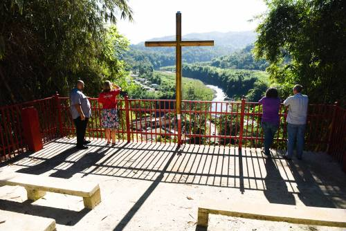 A cross and amphitheater overlook Campamento El Guacio in western Puerto Rico. (Photo by Rich Copley)
