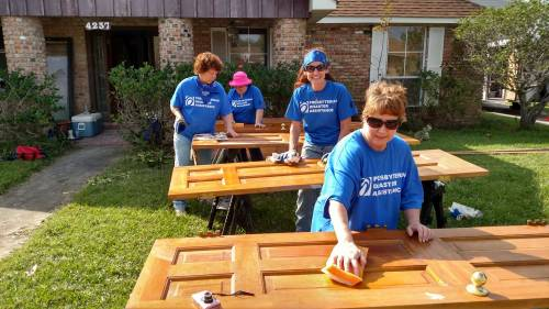 A crew of volunteers help provide Hurricane Harvey relief in Texas. (Photo by Joan Otto)