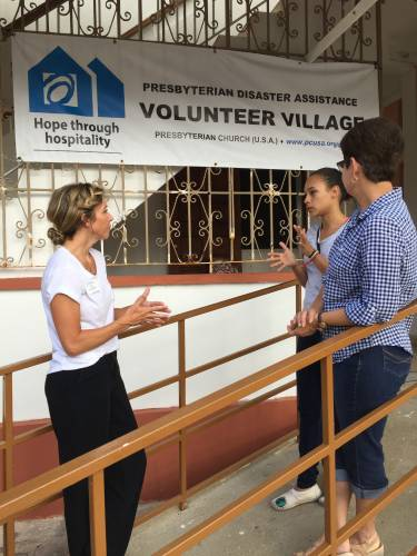 Eden Roberts, mission specialist for hosting and volunteer management for Presbyterian Disaster Assistance, is at a volunteer site in Puerto Rico in spring 2018. (Photo by David Gill)