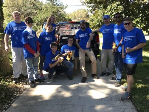Presbyterian Disaster Assistance volunteers work in St. Augustine, Florida, after Hurricane Matthew. (Photo by Kathy Broyard)