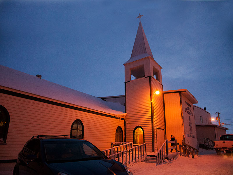 Utqiagvik Presbyterian Church on a mid-winter's day. The church was established by missionaries on Easter Sunday in 1899. (Photo by Bill Hess)