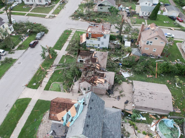 An aerial view of tornado damage in Marshalltown, Iowa. (Photo by Jon Rottink)