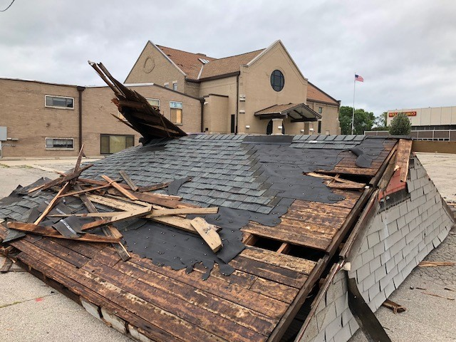 A roof following a tornado in Marshalltown, Iowa. (Photo by Jon Rottink)