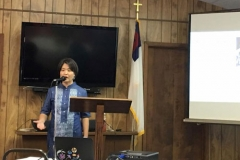 Cathy Chang speaks at First Presbyterian Church in Henderson, Texas. (Photo provided)
