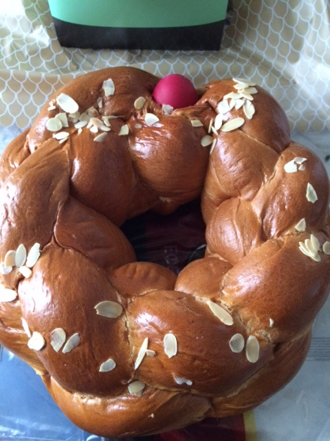 Alexandra, Director of Perichoresis director, came to check on me and brought this Easter bread.
