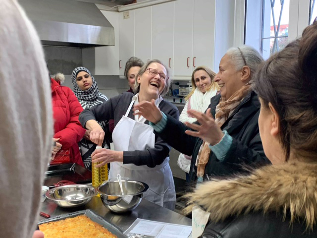 Cooking and laughing with restaurant owner Roberta.