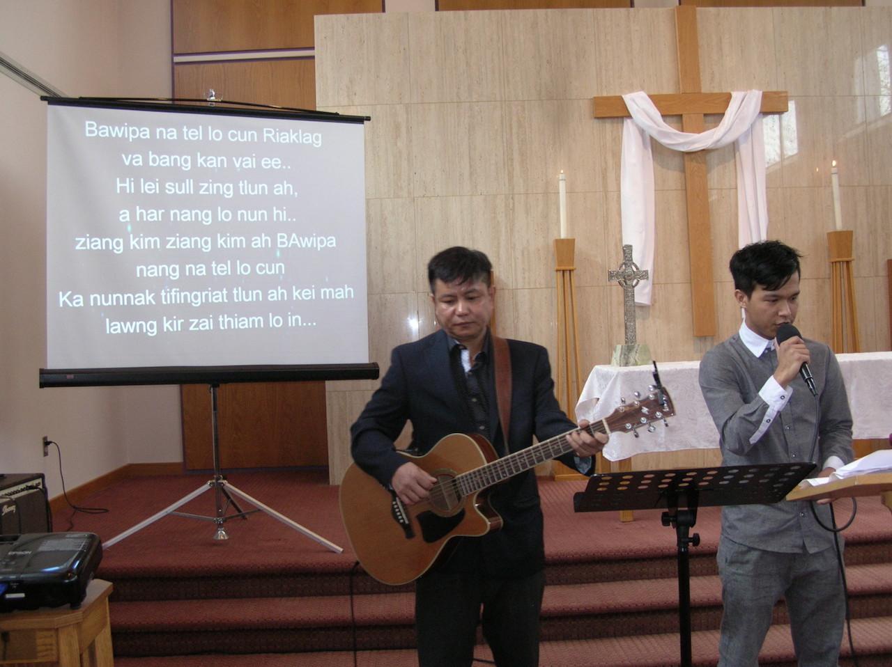 Worshiping through music at the Burmese Church at First Presbyterian Church in Allentown, Pennsylvania.