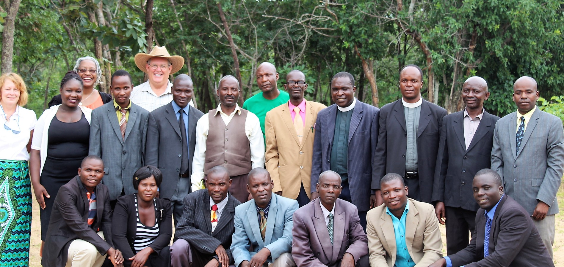 Students at CCAP Zambia Chasefu Theological College with Acting Principal Rev. Lazarus Chilenje (2nd row 3rd from right) and CCAP Zambia Moderator Rev. Chizason Chunda (2nd row 4th from right) and guests in January 2019, rural eastern Zambia.