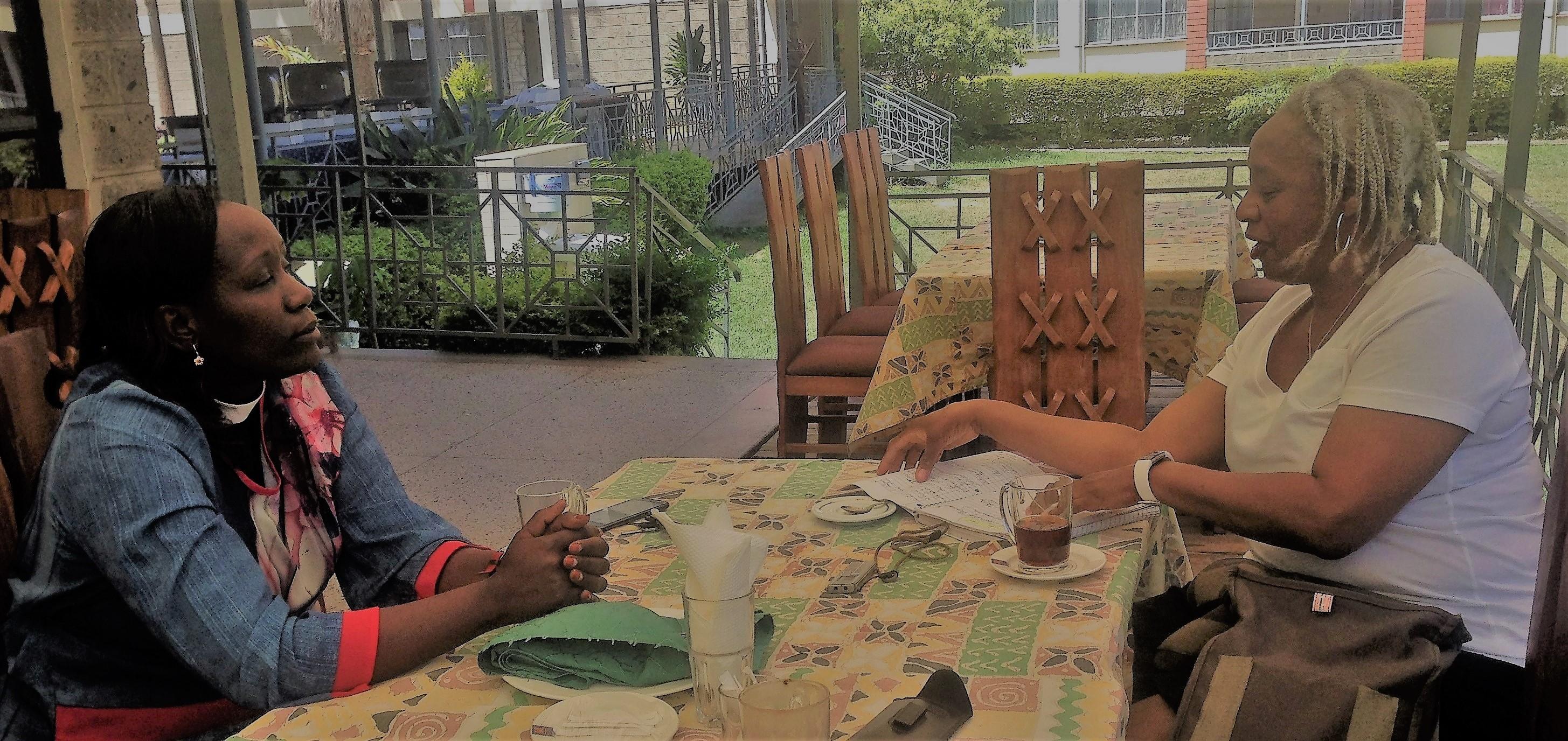 Paula Cooper in Kenya with Rev. Elizabeth Kimani, director, PCEA National Women's Guild.
