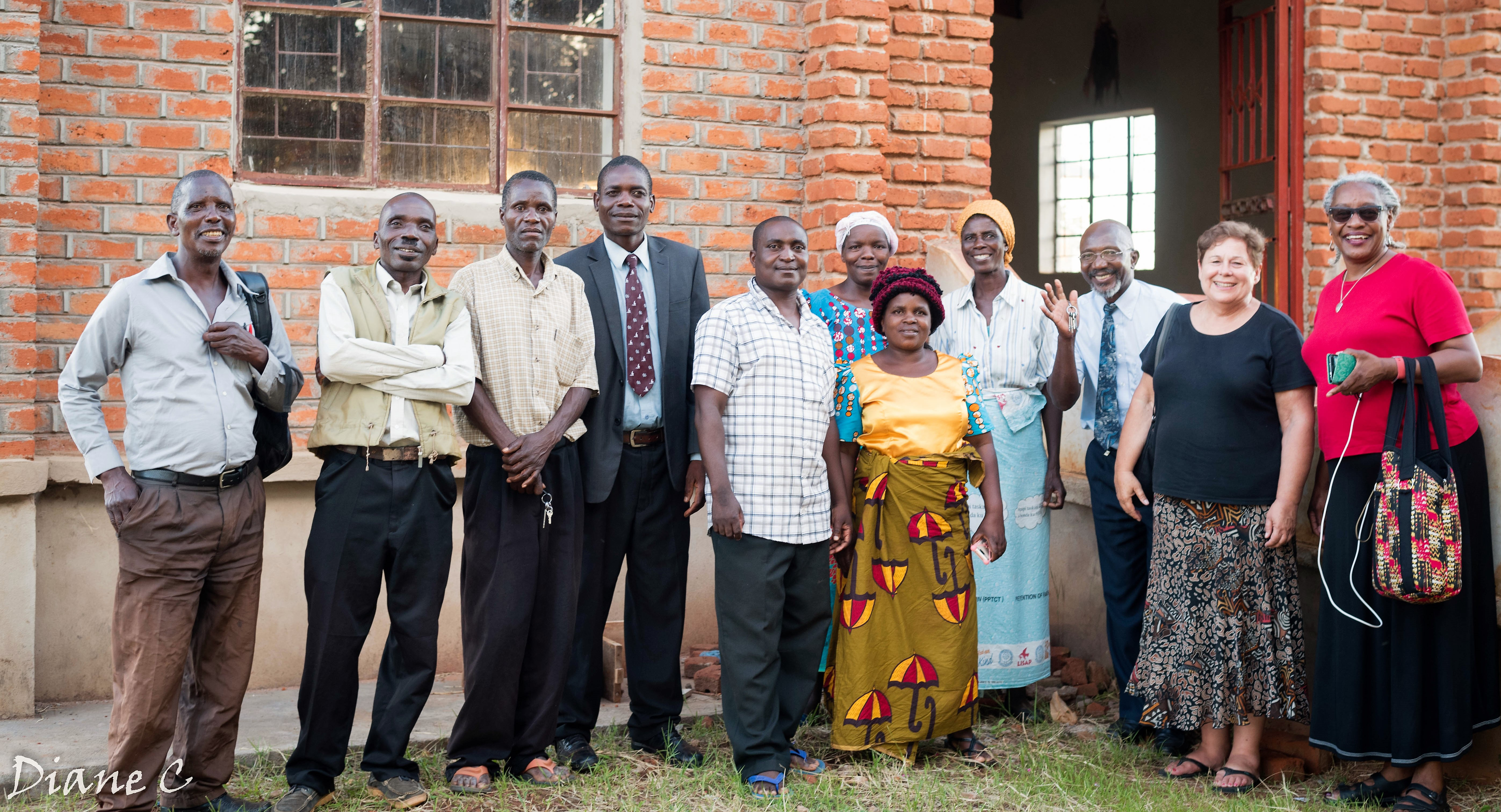 With Rev. and Mrs. M. Msiska (5th and 6th from left) and session members of CCAP Livingstonia Vibangalala Congregation, Loudon Presbytery, northern Malawi.
