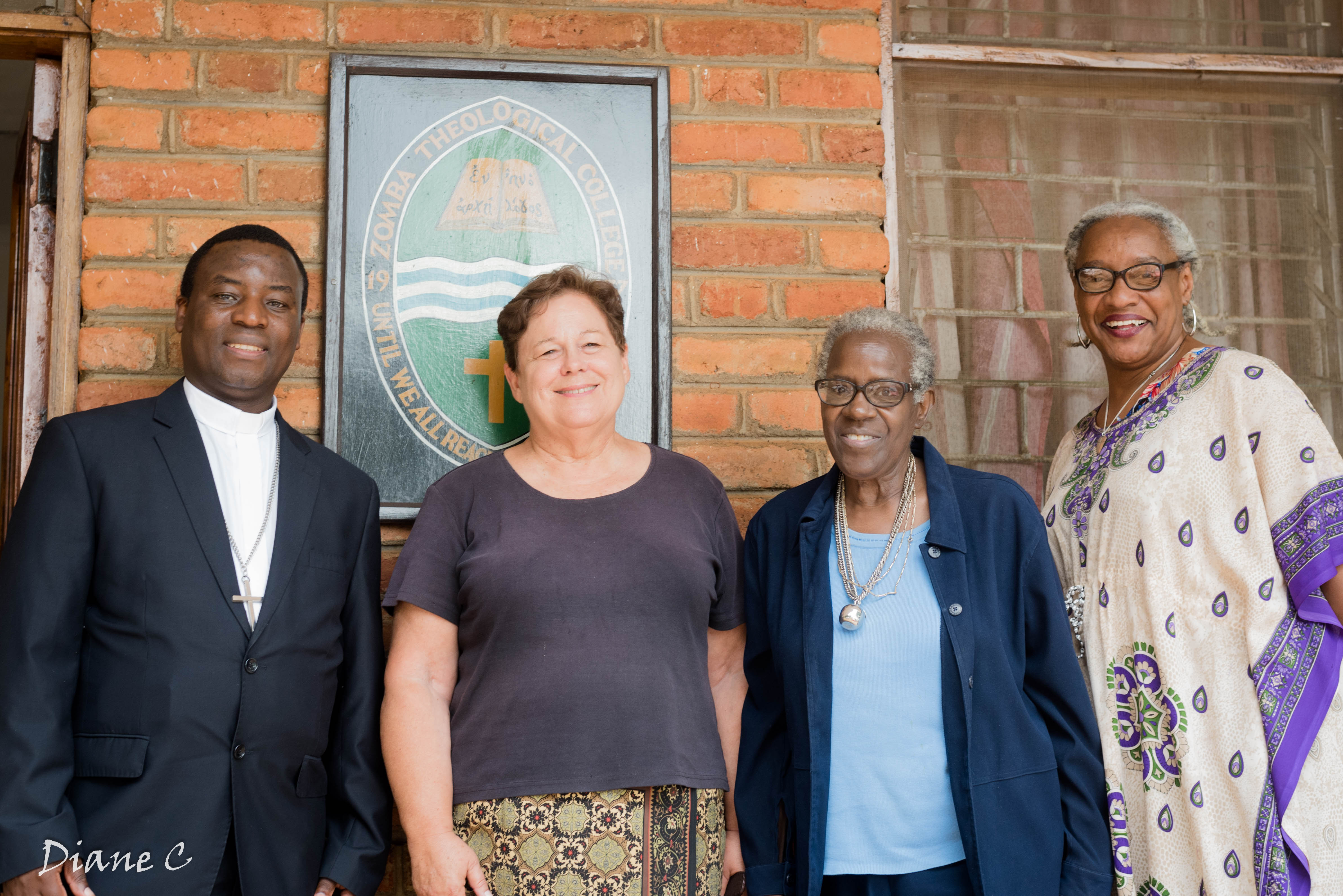 From left: Dr. Takuze Chitsulo, principal, Zomba Theological College; Nancy; Dr. Donna Sloan, who has just ended service as a long-term volunteer lecturer at Zomba; and Paula Cooper in southern Malawi.