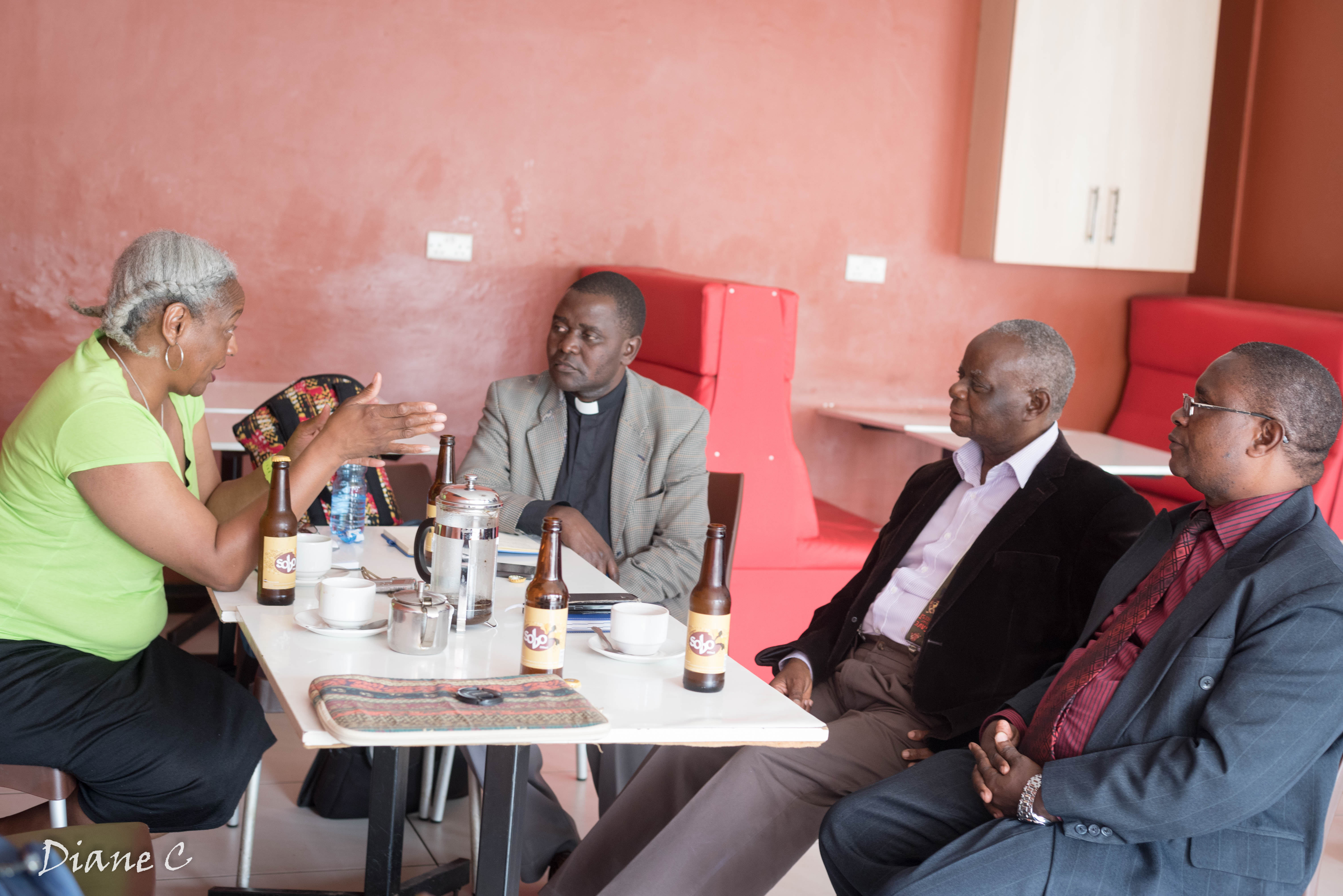 Paula with leadership of CCAP General Assembly. From left: Deputy General Secretary Rev. Tembo, General Secretary Rev. Colin Mbawa, and Moderator Dr. Timothy Nyasulu.
