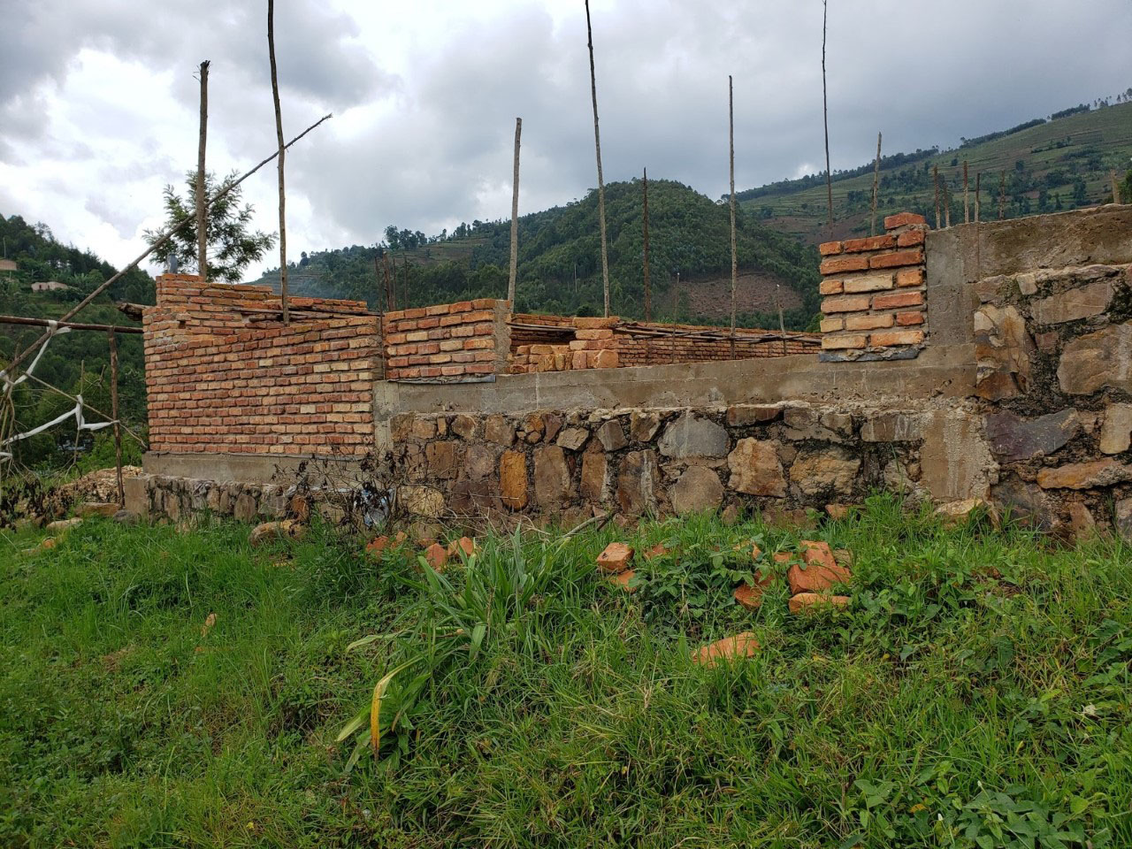 The incomplete church at Kiruhura Parish.