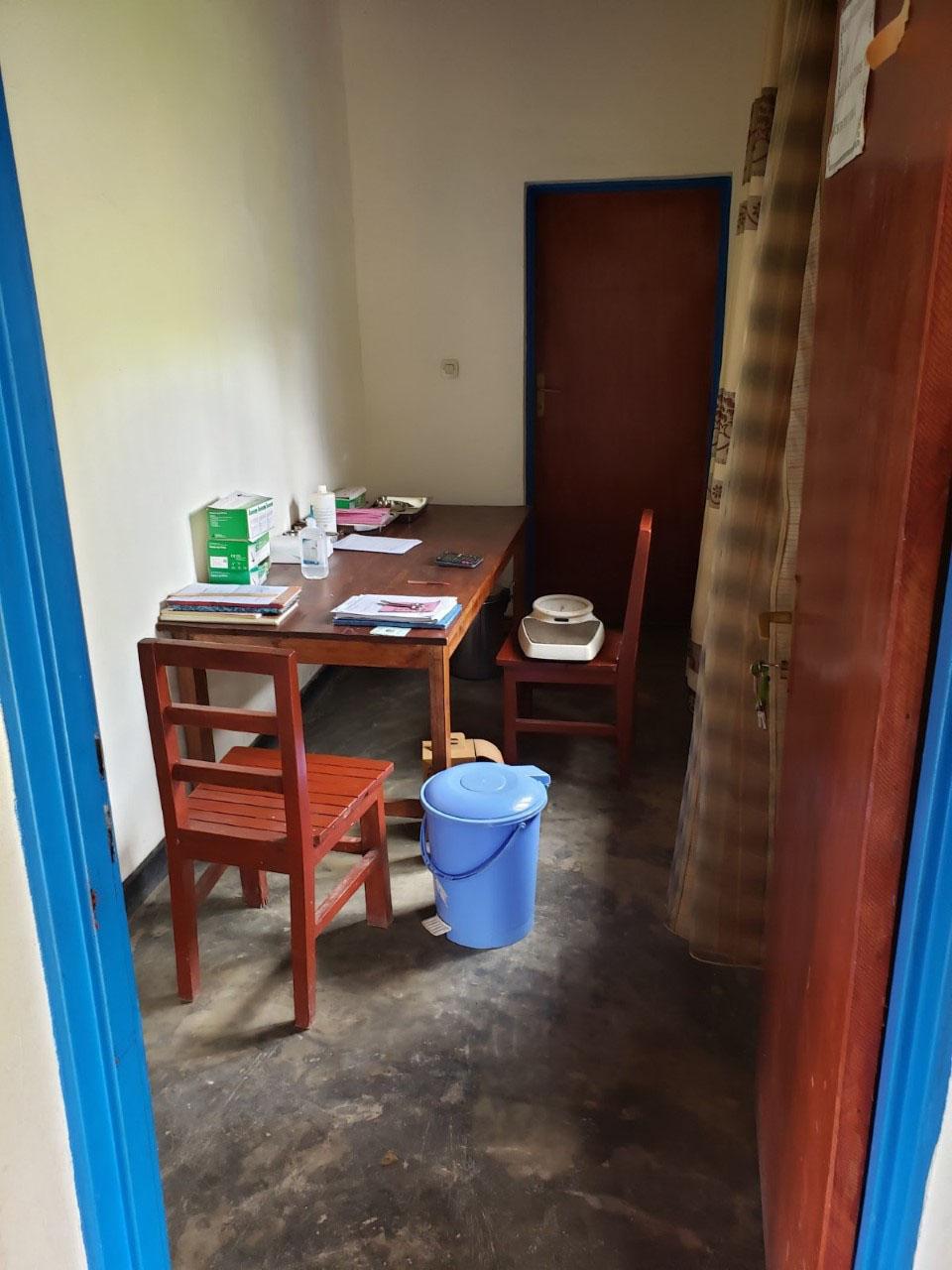 The consultation room at the Kiruhura Parish's health post in the District of Gicumbi.