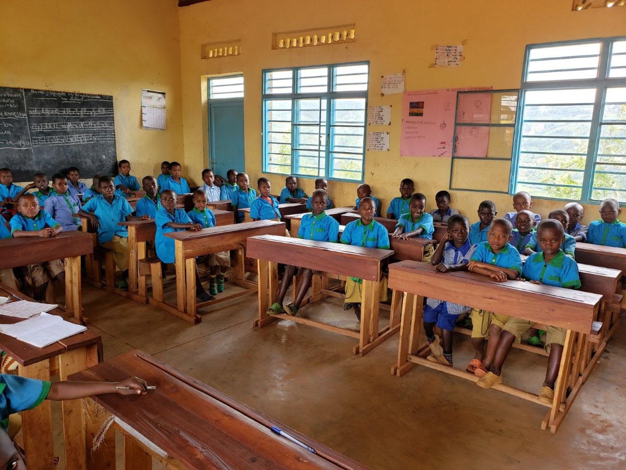 Classroom of some of the children in primary grade 1 at Kinihira Sub-parish in the Kinihira Parish in the District of Rulindo.
