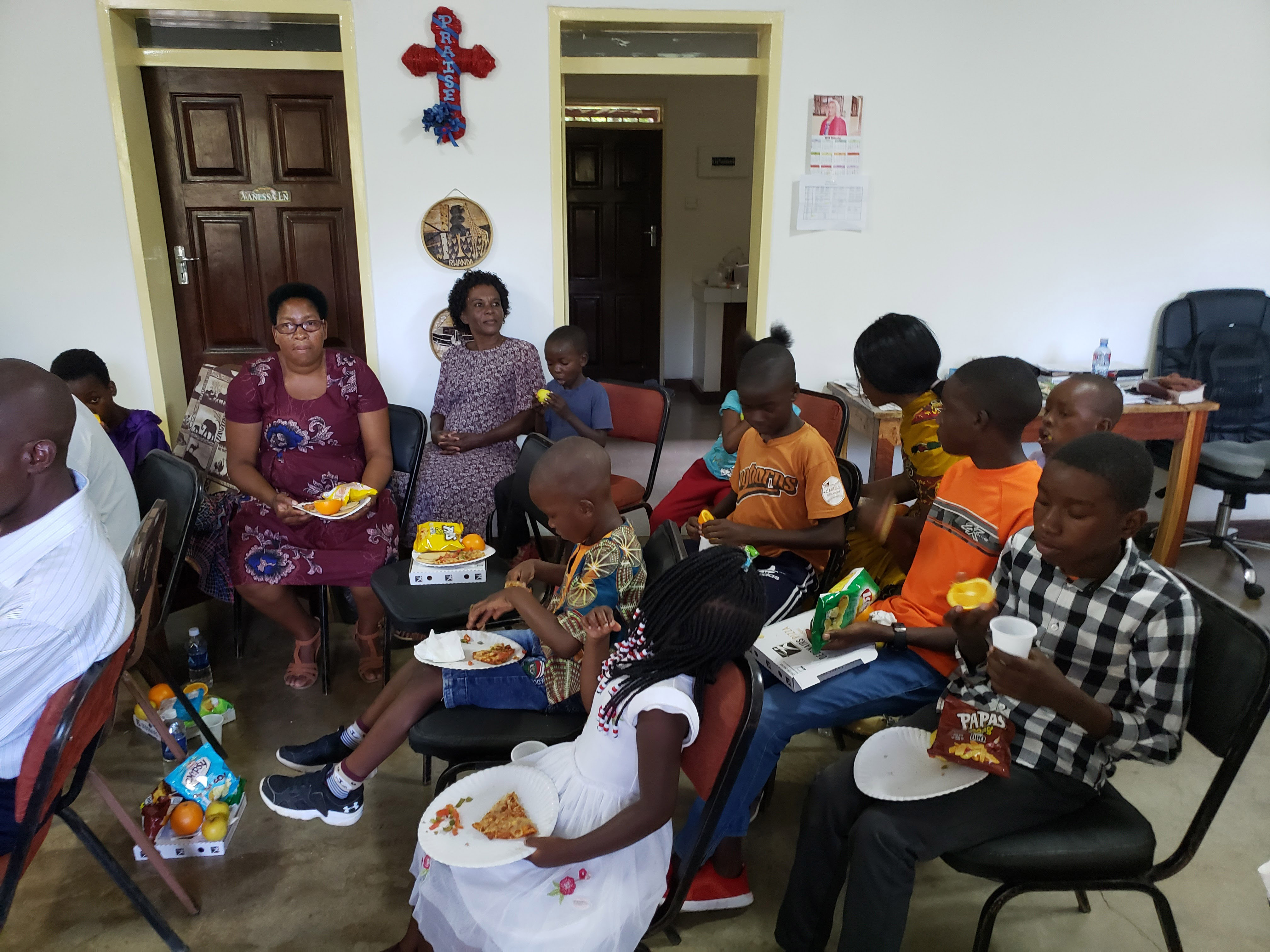 Seminarians' wives and children gathered for fellowship at my home in January 2020, in Lusaka, Zambia.  Photo by Paula Cooper.