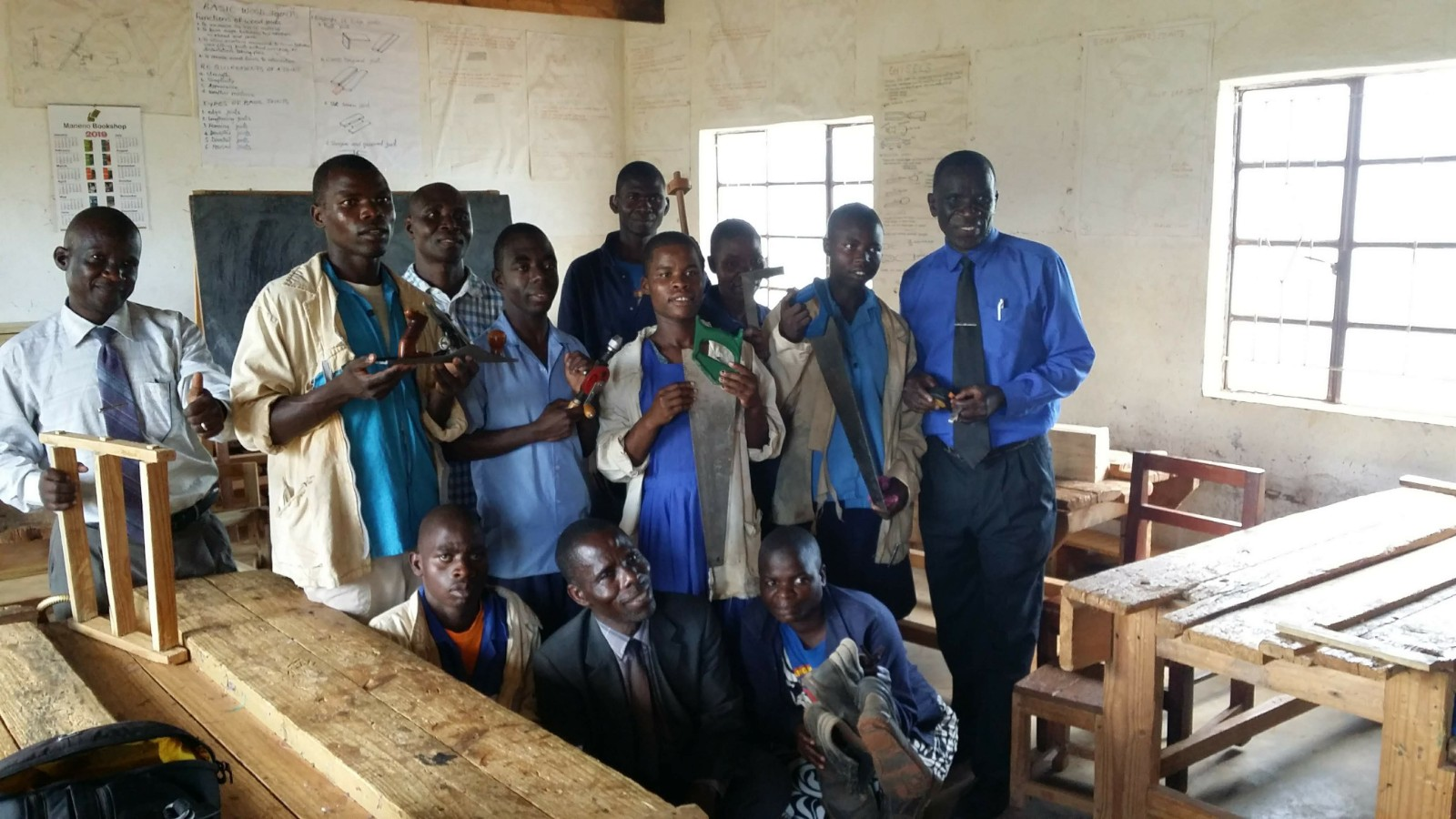Students from the carpentry shop at the Secondary School of the Deaf in Malawi.