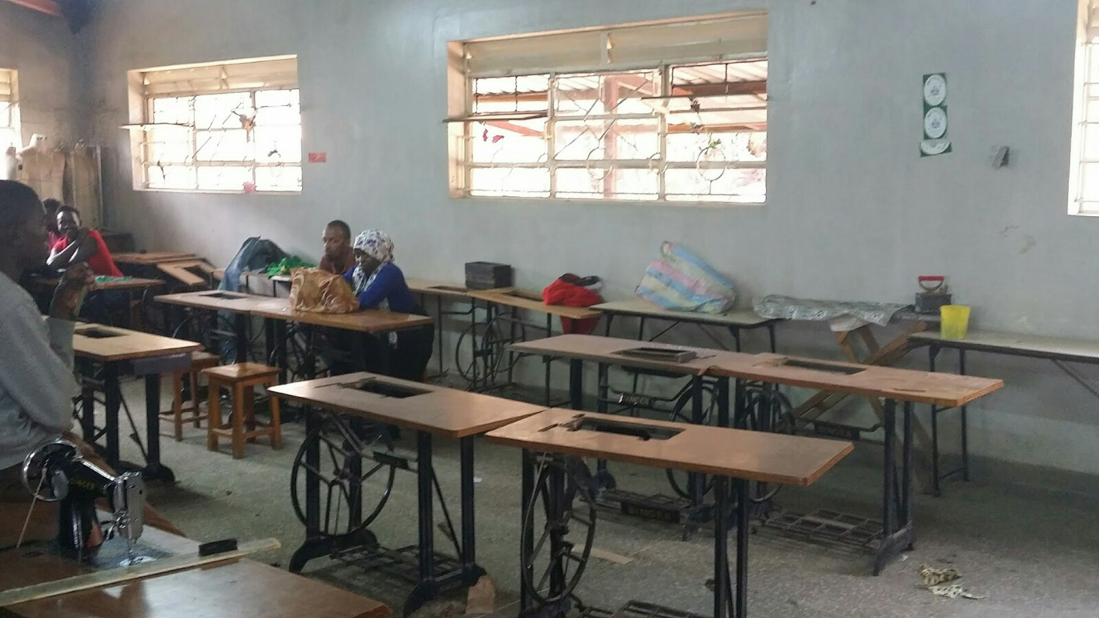 Students in sewing shop at the Vocational Center at Eastleigh Center in Kenya.