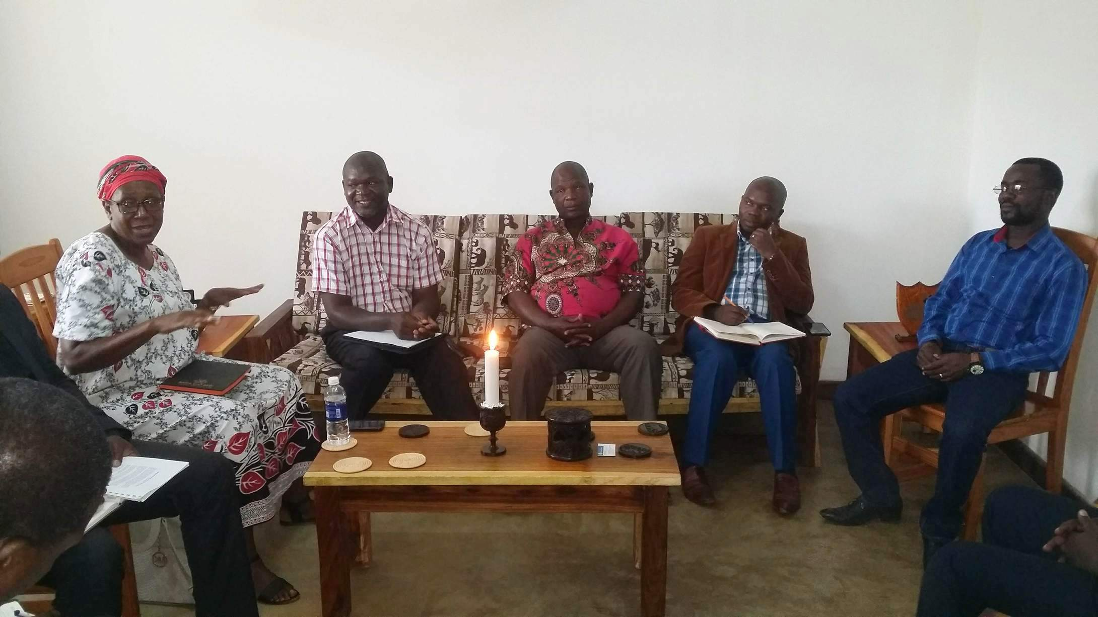(from left to right): Reverends Jane Nyirongo, Thomson M'Kandawire, UPCSA's clerk; Sauros Phaika, UPCSA's moderator; Richard M'Kandawire, UPCSA's Copperbelt Presbytery's moderator; Kennedy Mhoni, UPCSA's Munali Presbytery's clerk.