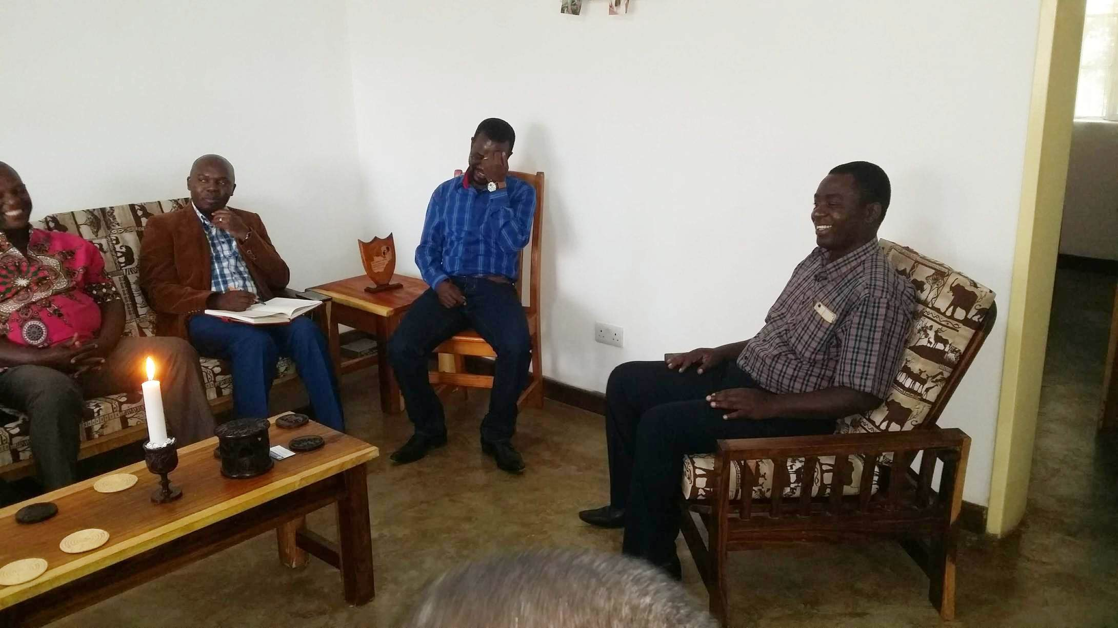 (from left to right): UPCSA's Reverends Sauros Phaika; Richard M'Kandawire; Kennedy Mhoni; Edward Chirwa, Mchinga Presbytery's moderator.