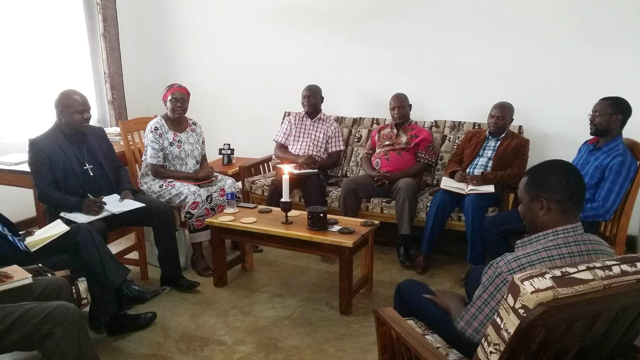(left to right): Reverends Friday Kapasaka; Jane Nyirongo; Thomson M'Kandawire; Sauros Phaika; Richard M'Kandawire; Kennedy Mhoni; and Edward Chirwa.