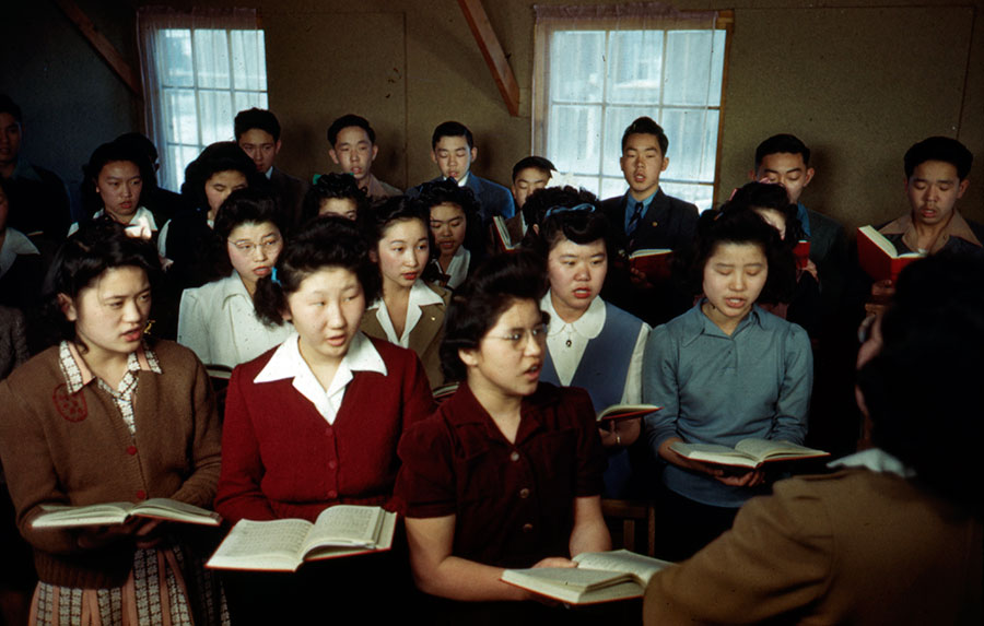 Church choir at Japanese American Incarceration Camp Federated Church, about 1943.
