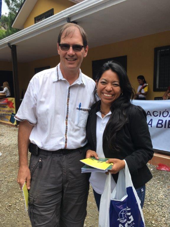 Richard with Claudia, Director of Christian Education at La Patria.