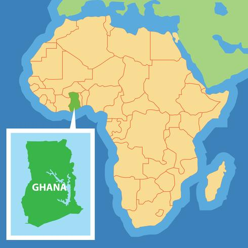 Ghana's location on the African Continent, surrounded by Côte D'Ivoire, Burkina Faso, and Togo.