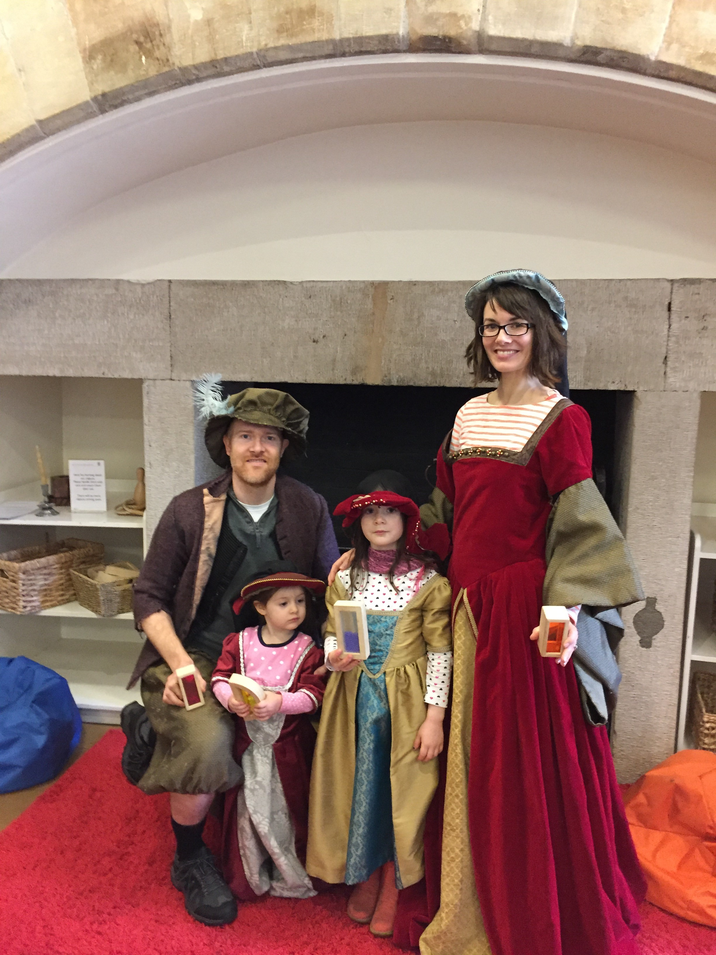 Our family dressing up in a castle on a recent visit to Scotland.