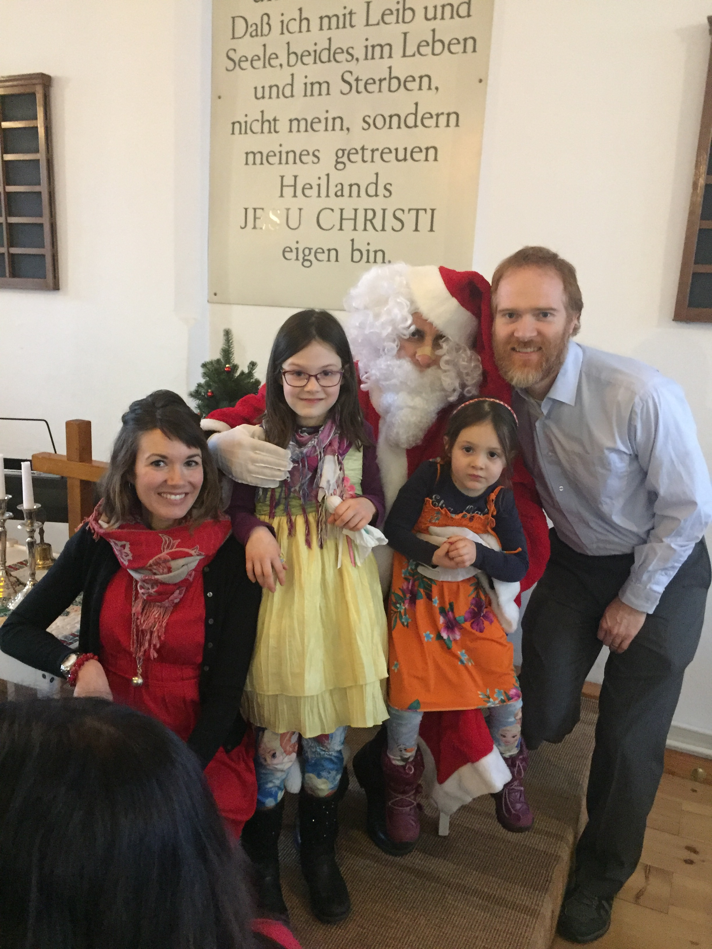 Advent and Christmas were a busy and joyful time for us and the church community. Here we are with Baba Noel, who handed out small gifts to the children and happily posed for pictures with everyone during the church's Christmas party.