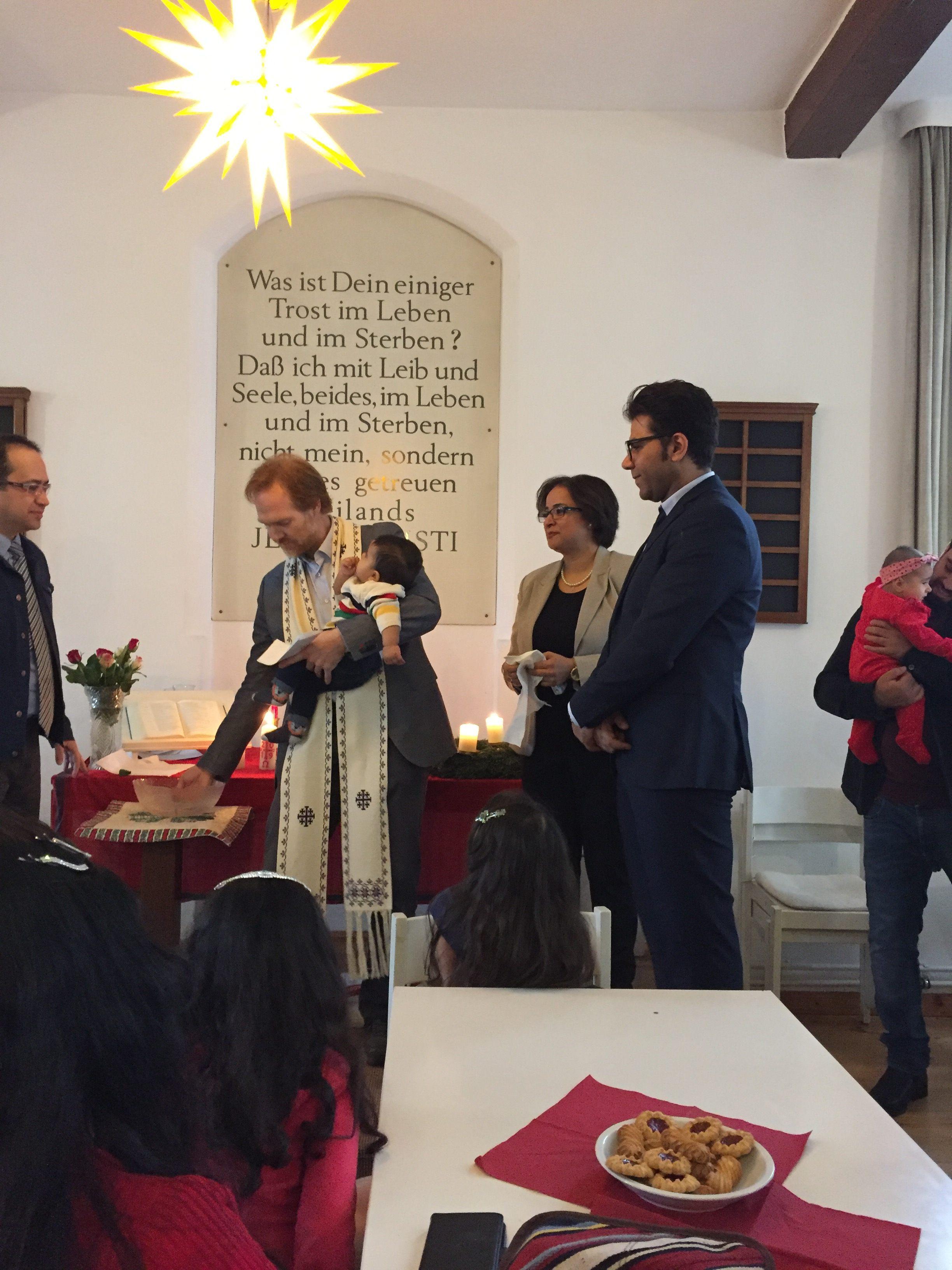 Baptism during the Christmas celebration.