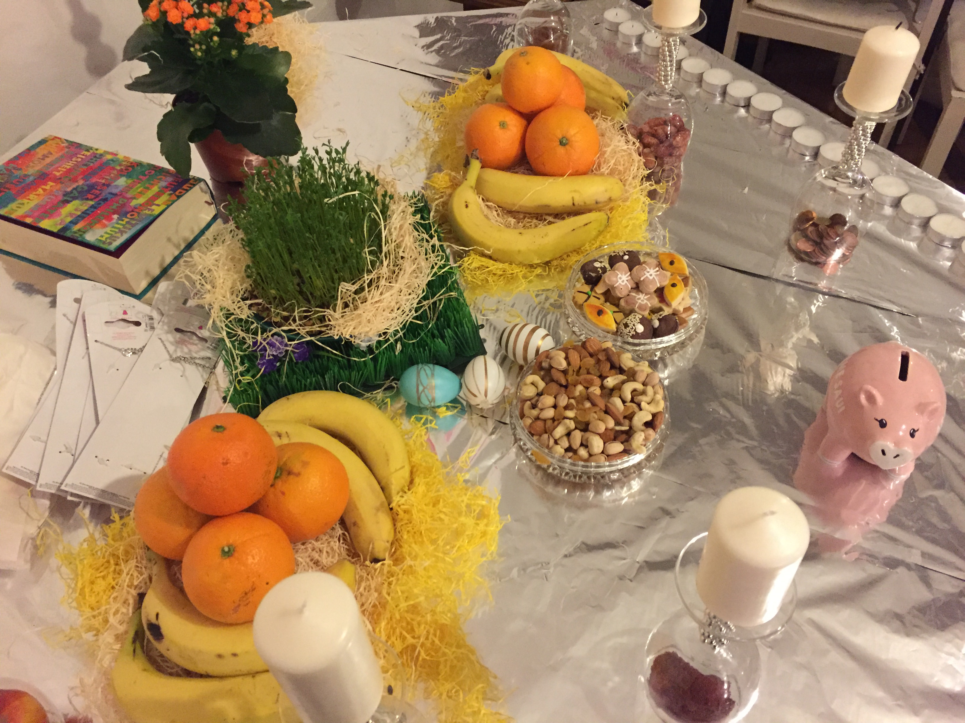 "The center table display for Nowruz. All items have the sound ""s"" in Farsi and represent new life/beginnings."